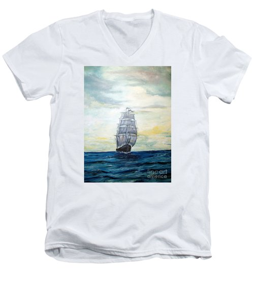 Men's V-Neck T-Shirt featuring the painting Morning Light On The Atlantic by Lee Piper