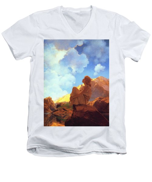 Morning Spring Men's V-Neck T-Shirt by Maxfield Parrish
