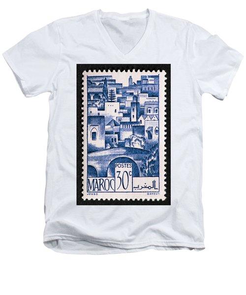 Morocco Vintage Postage Stamp Men's V-Neck T-Shirt by Andy Prendy