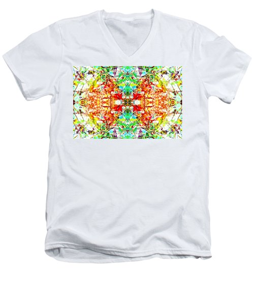 Mosaic Of Spring Abstract Art Photo Men's V-Neck T-Shirt by Marianne Dow