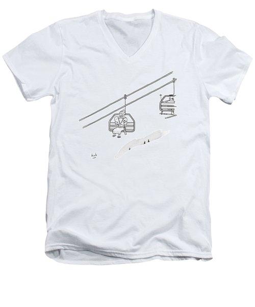 Moses Travels Down A Mountain On A Ski-lift Men's V-Neck T-Shirt