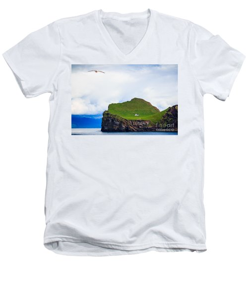 Men's V-Neck T-Shirt featuring the photograph Most Peaceful House In The World by Peta Thames