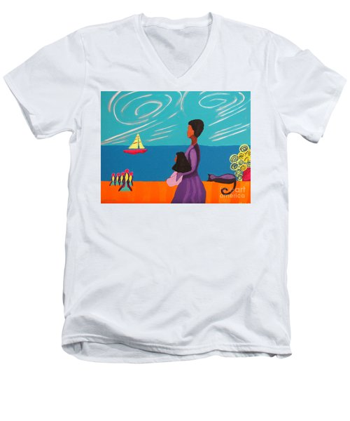 Mother And Daughter Men's V-Neck T-Shirt by Anita Lewis