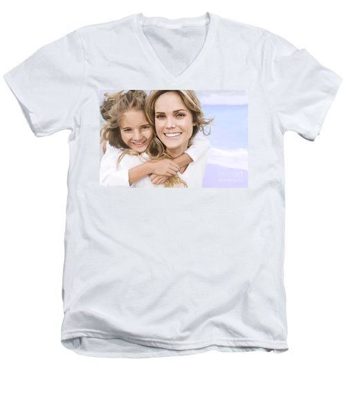 Men's V-Neck T-Shirt featuring the painting Mother Daughter Portrait   by Tim Gilliland