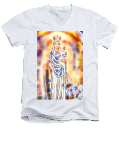 Men's V-Neck T-Shirt featuring the painting Mother Of Light by Dave Luebbert