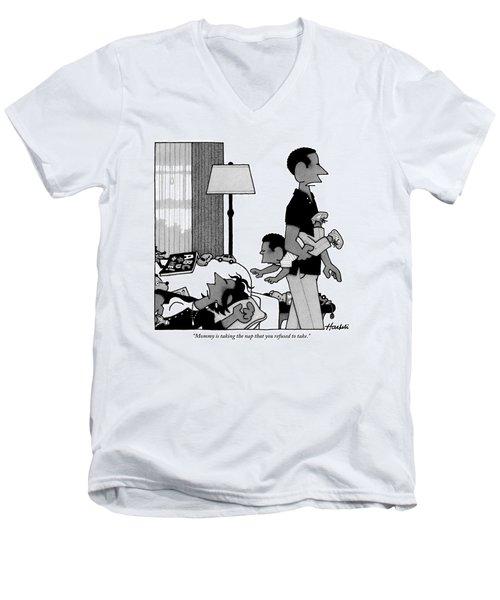 Mother On Sofa Men's V-Neck T-Shirt