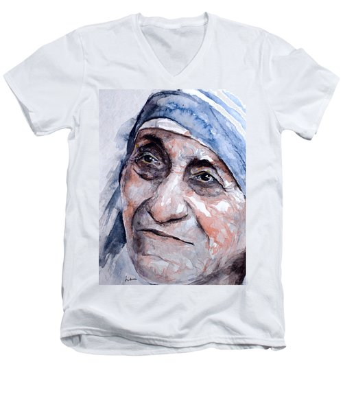 Mother Theresa Watercolor Men's V-Neck T-Shirt by Laur Iduc