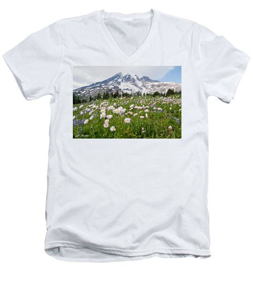 Mount Rainier And A Meadow Of Aster Men's V-Neck T-Shirt