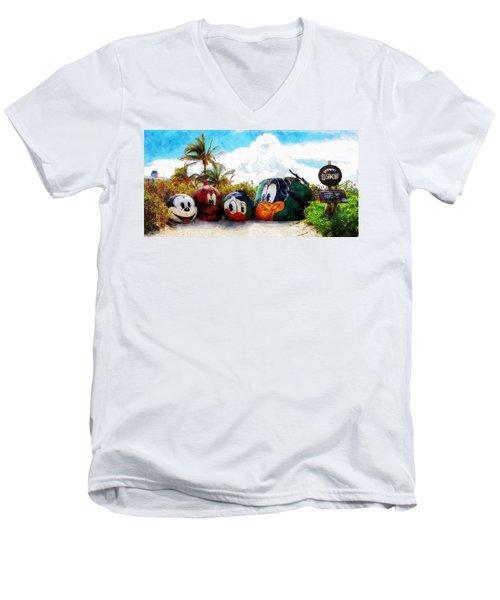 Mount Rustmore Castaway Cay Men's V-Neck T-Shirt by Sandy MacGowan