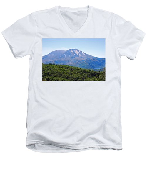 Mount St. Helens And Castle Lake In August Men's V-Neck T-Shirt by Connie Fox