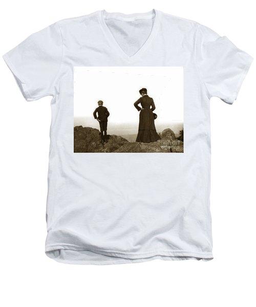 Men's V-Neck T-Shirt featuring the photograph Mount Tamalpais Marin County California Circa 1902 by California Views Mr Pat Hathaway Archives