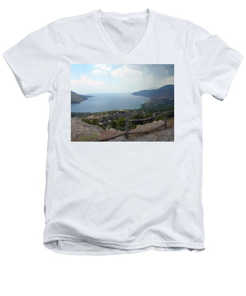 Mountain And Sea View In Greece Men's V-Neck T-Shirt