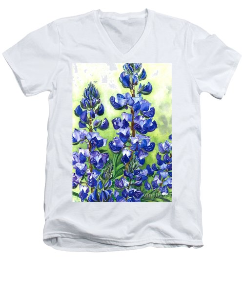 Mountain Blues Lupine Study Men's V-Neck T-Shirt by Barbara Jewell