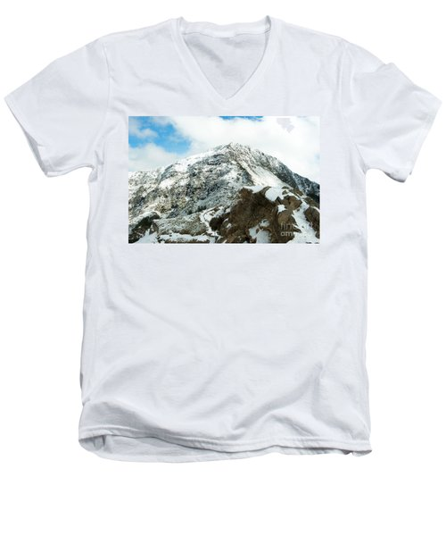 Mountain Covered With Snow Men's V-Neck T-Shirt