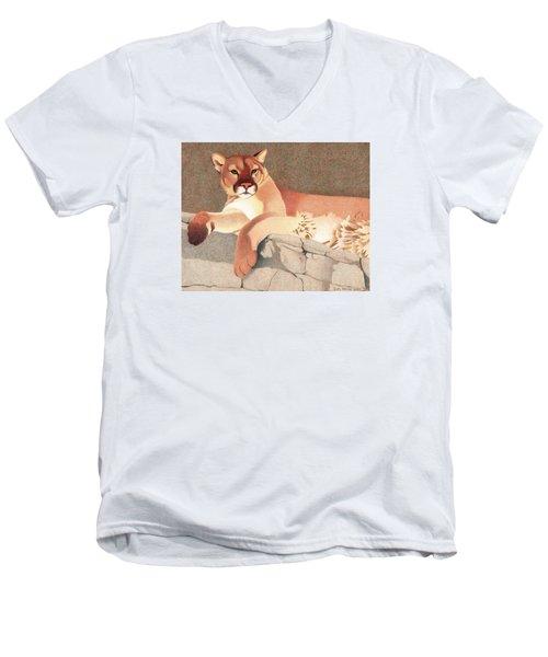 Mountain Lion Men's V-Neck T-Shirt by Dan Miller