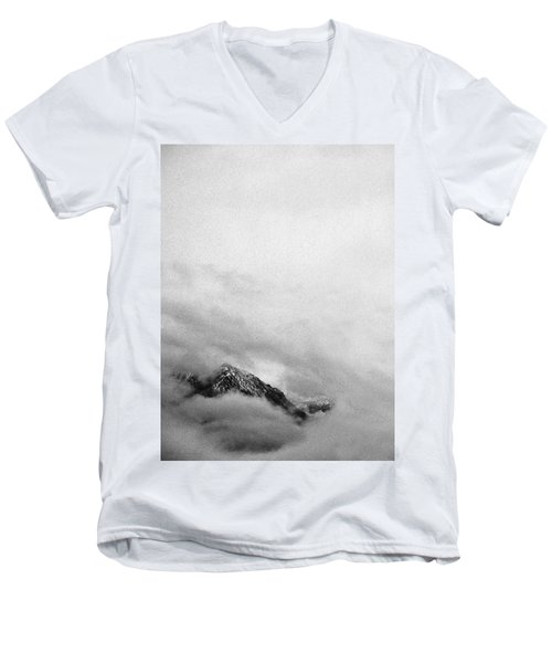 Mountain Peak In Clouds Men's V-Neck T-Shirt