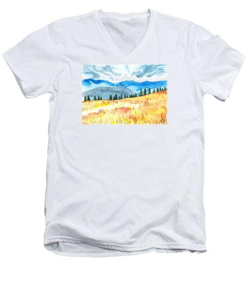 Mountain View Men's V-Neck T-Shirt by Kate Black