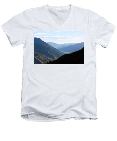 Men's V-Neck T-Shirt featuring the photograph Mountains Meet Lake #3 by Stuart Litoff