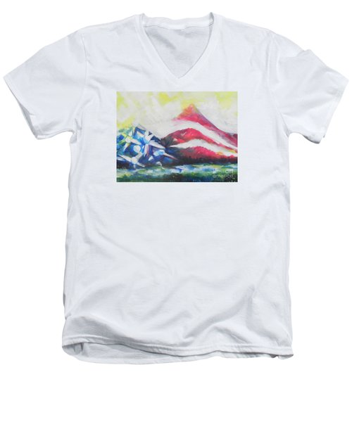 Mountains Of Freedom Two Men's V-Neck T-Shirt