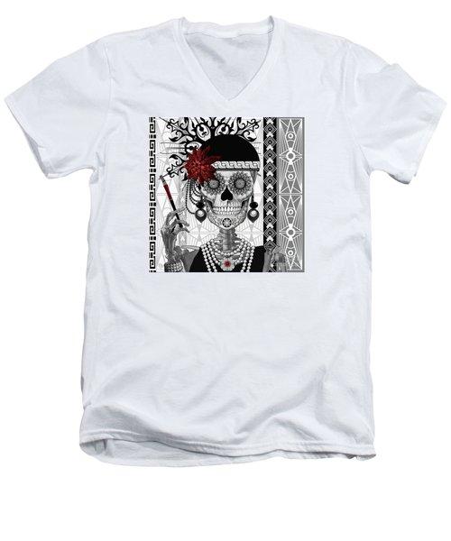 Mrs. Gloria Vanderbone - Day Of The Dead 1920's Flapper Girl Sugar Skull - Copyrighted Men's V-Neck T-Shirt by Christopher Beikmann