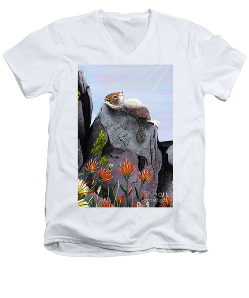 Men's V-Neck T-Shirt featuring the painting Ms. Elizabeth Taking In The Rays by Jennifer Lake