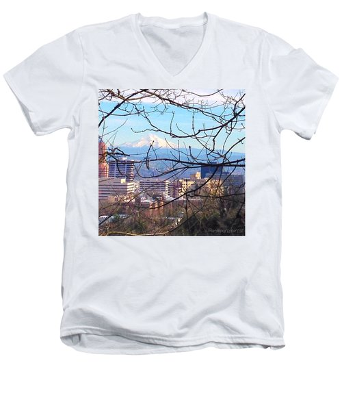 Mt Hood And Downtown Portland Men's V-Neck T-Shirt
