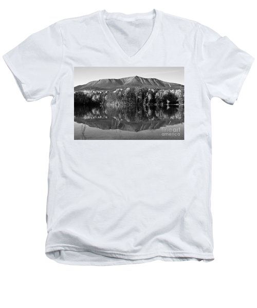 Mt Katahdin Black And White Men's V-Neck T-Shirt
