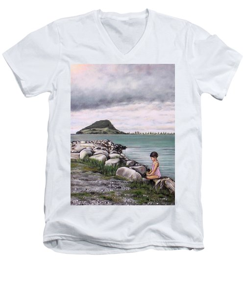 Men's V-Neck T-Shirt featuring the painting Mt Maunganui 140408 by Sylvia Kula