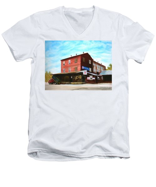 Men's V-Neck T-Shirt featuring the painting Mt. Pleasant Milling Company by Stacy C Bottoms
