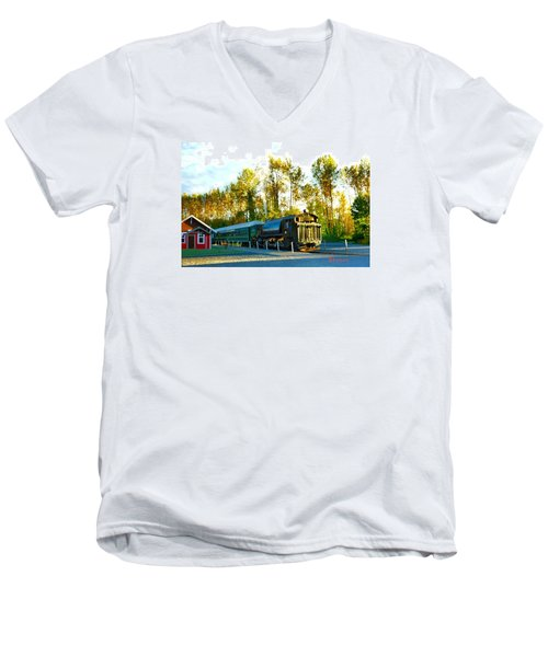 Men's V-Neck T-Shirt featuring the photograph Mt Rainier W A Scenic Railroad by Sadie Reneau