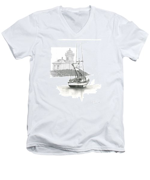 Mukilteo Lighthouse Men's V-Neck T-Shirt by Terry Frederick