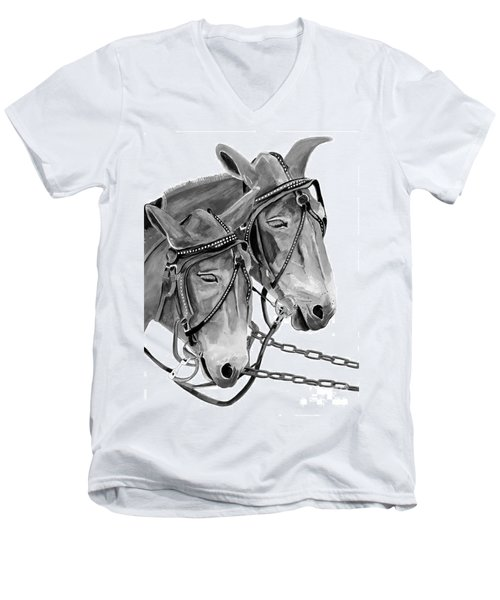 Mules - Beast Of Burden - B And W Men's V-Neck T-Shirt