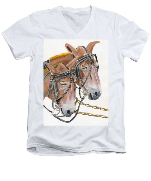 Men's V-Neck T-Shirt featuring the painting Mules - Two - Beast Of Burden by Jan Dappen