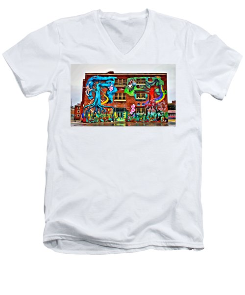 Men's V-Neck T-Shirt featuring the photograph Mural On School by Alice Gipson