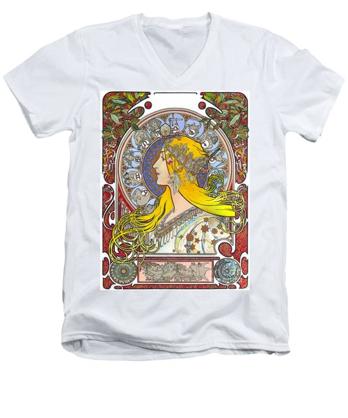 My Acrylic Painting As An Interpretation Of The Famous Artwork Of Alphonse Mucha - Zodiac - Men's V-Neck T-Shirt by Elena Yakubovich