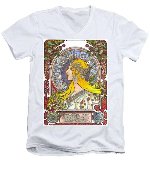 My Acrylic Painting As An Interpretation Of The Famous Artwork Of Alphonse Mucha - Zodiac - Men's V-Neck T-Shirt