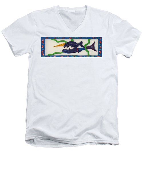 Men's V-Neck T-Shirt featuring the sculpture My First Fish Dinner by Robert Margetts