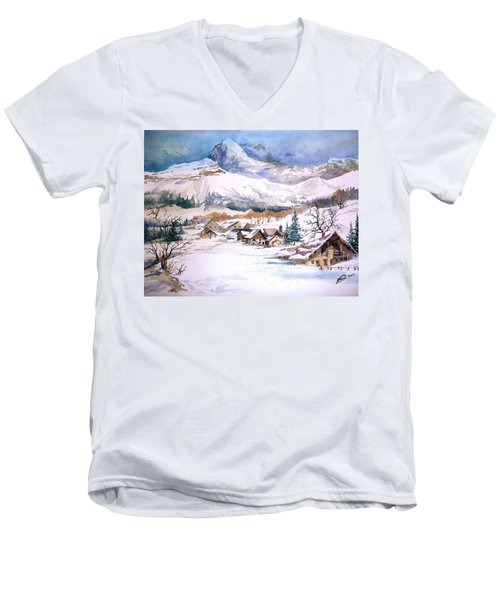 My First Snow Scene Men's V-Neck T-Shirt