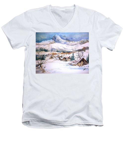 My First Snow Scene Men's V-Neck T-Shirt by Alban Dizdari