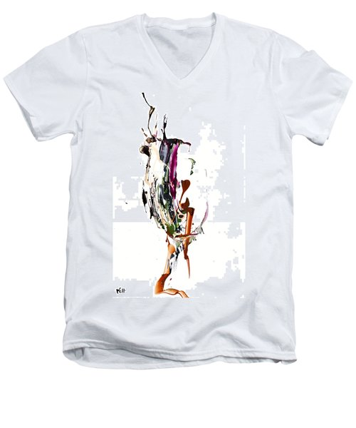 Men's V-Neck T-Shirt featuring the painting My Form Of Jazz Series - 10186.110709 by Kris Haas