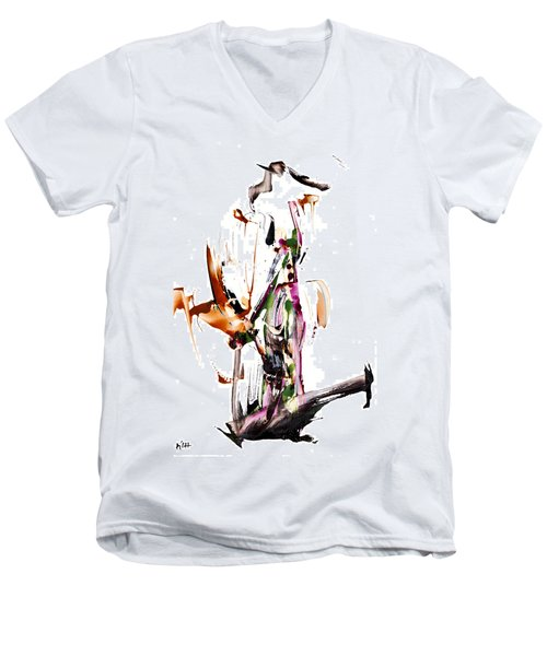 Men's V-Neck T-Shirt featuring the painting My Form Of Jazz Series - 10187.110709 by Kris Haas