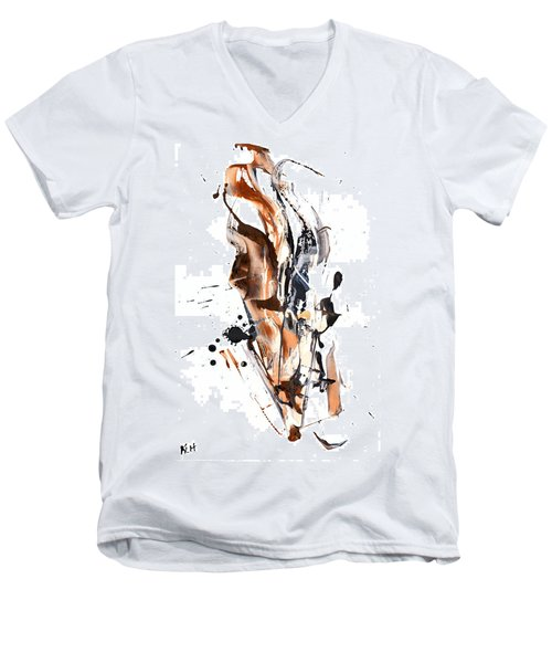 Men's V-Neck T-Shirt featuring the painting My Form Of Jazz Series - 10189.110709 by Kris Haas