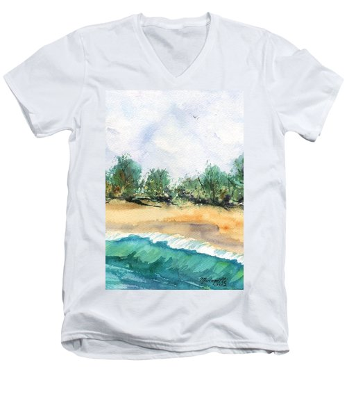 Men's V-Neck T-Shirt featuring the painting My Secret Beach by Marionette Taboniar