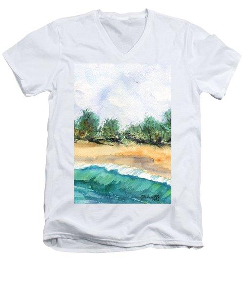 My Secret Beach Men's V-Neck T-Shirt by Marionette Taboniar