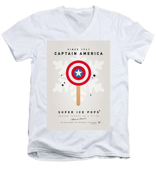 My Superhero Ice Pop - Captain America Men's V-Neck T-Shirt