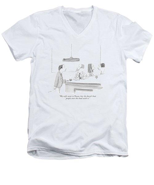 My Wife Went To Vassar Men's V-Neck T-Shirt