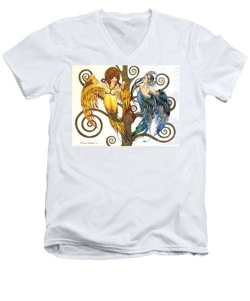 Mythological Birds-women Alconost And Sirin- Elena Yakubovich  Men's V-Neck T-Shirt by Elena Yakubovich