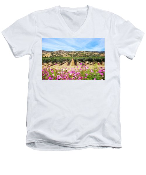 Napa Valley Vineyard With Cosmos Men's V-Neck T-Shirt