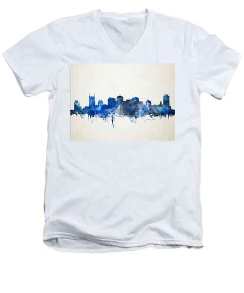 Nashville Skyline Watercolor 11 Men's V-Neck T-Shirt by Bekim Art