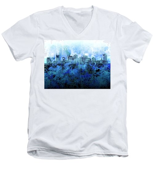 Nashville Skyline Watercolor 3 Men's V-Neck T-Shirt